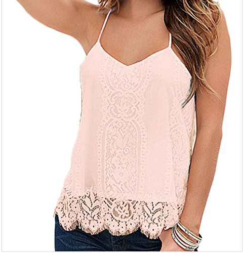 Black Friday FQHOME Womens Pink Scalloped Lace Tank Top Size M