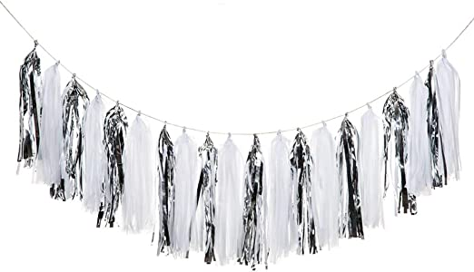 Shiny Tassel Garland Tissue Paper Tassel Banner,Table Decor,Tassels Party Decorations Supplies for Wedding,Birthday,Bridal//Baby Shower,DIY Kits,Pack of 20 Rose Gold//Light Pink//Peach Color//White