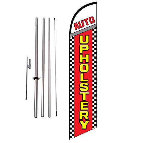 Auto Upholstery (checkered) 15ft Outdoor Advertising Feather Banner Flag Kit w/ Ground Spike