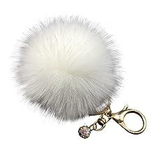SUPPION Fluffy Faux Rabbit Fur Ball Charm Car Keychain Handbag Key Ring