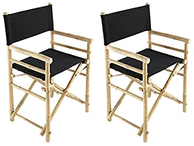 Bamboo 18 Inch Standard Height Directors Chairs with Solid Cover - Set of 2