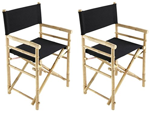 (Zew Hand Crafted Foldable Bamboo Director's Chair with Treated Comfortable Canvas, Black, Folding Chairs Set of 2 )