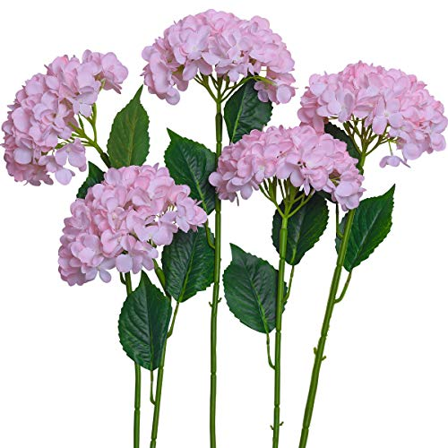 PARTY JOY 5PCS Artificial Hydrangea Silk Flowers Bouquet Faux Hydrangea Stems for Wedding Centerpieces Home Decor (Pink, 5)