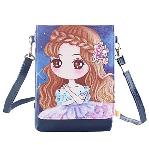 Teens Girls Kids Fashion Mini Shoulder Bags Crossbody Bags Cell Phone Case Holder Bag Small Wallet Purse Pouches Clutch Handbag Blue