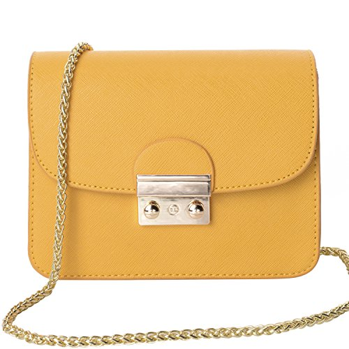 QZUnique Women's Fashion PU Leather Package Cover Type Cross Body Shoulder Bag with Metal Chain Strap Yellow