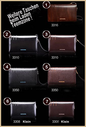 Teemzone Wallet Mens Leather Business Style Clutch Bag with Wrist Strap (Brown)