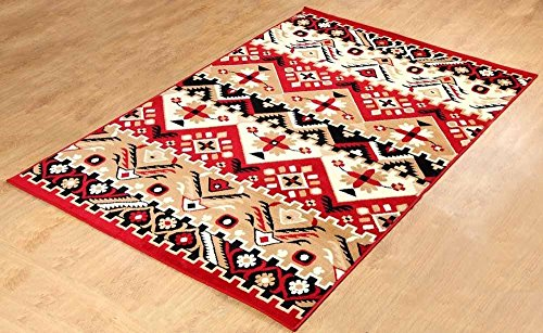 """Furnish my Place Southwest Southwestern Modern Geometric Area Rug, Rustic Lodge 655, Red - 8 mm pile height (.32 inch) Backing is latex and jute is the weft Actual size for 8'x10' is 8'2 x10, actual size for 5'x8' is 5' x 7'5"""", actual size for 4x6 is 3'6""""x5'6"""" - living-room-soft-furnishings, living-room, area-rugs - 51nkfo9DibL -"""