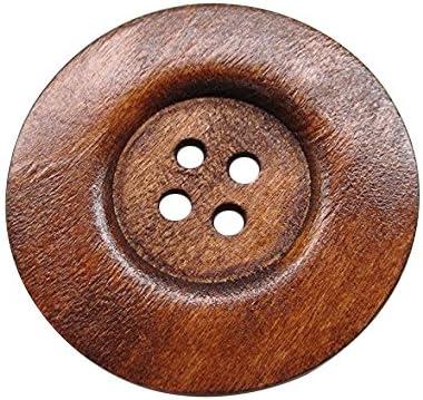 Bottoni da cucito rotondi marroni in legno con 4 fori 20 bottoni rotondi grandi Chenkou Craft misura 60 mm