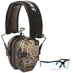Walker's Game Ear Razor Slim Electronic Muff (Kryptek Camo) BUNDLED with Clear Lens Shooting Glasses
