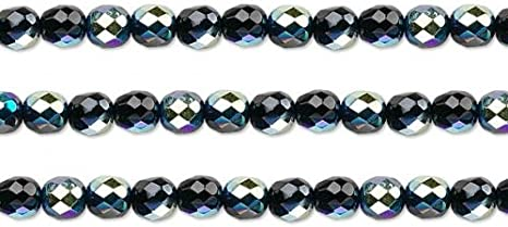 100 BLACK AB FACETED FIRE POLISHED ROUND GLASS BEADS 4MM