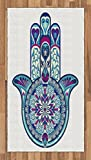 Hamsa Area Rug by Ambesonne, Eastern Culture Belief Turkish Spiritual Symbol in Retro Arabian Style, Flat Woven Accent Rug for Living Room Bedroom Dining Room, 2.6 x 5 FT, Blue Pale Blue Purple