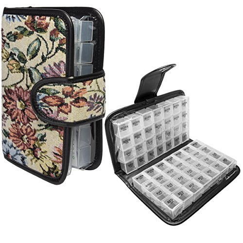 (Simply Genius Floral 14 Day Daily Pill Organizer, Portable Locking Travel Case Doses Dispenser, AM/PM, Day & Night, Weekly Pill Box Organizer Case)