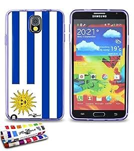 Carcasa Flexible Ultra-Slim SAMSUNG GALAXY NOTE 3 / N9000 de exclusivo motivo [Bandera Uruguay] [Violeta] de MUZZANO  + ESTILETE y PAÑO MUZZANO REGALADOS - La Protección Antigolpes ULTIMA, ELEGANTE Y DURADERA para su SAMSUNG GALAXY NOTE 3 / N9000