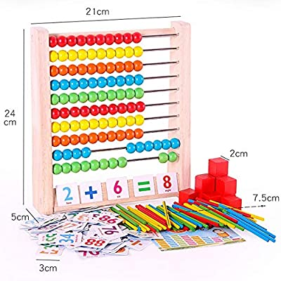 Montessori Arithmetic Counting Learning Stand Board Early Education Toys Preschool Wooden Math Teaching Aids for Children Red: Clothing
