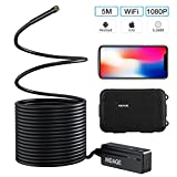 NIDAGE 1080P Semi-rigid Wireless Endoscope 2.0 MP HD WiFi 5.5MM Borescope Inspection Camera with 16.4FT Cable for Android and IOS Smartphone, iPhone, Samsung, Tablet