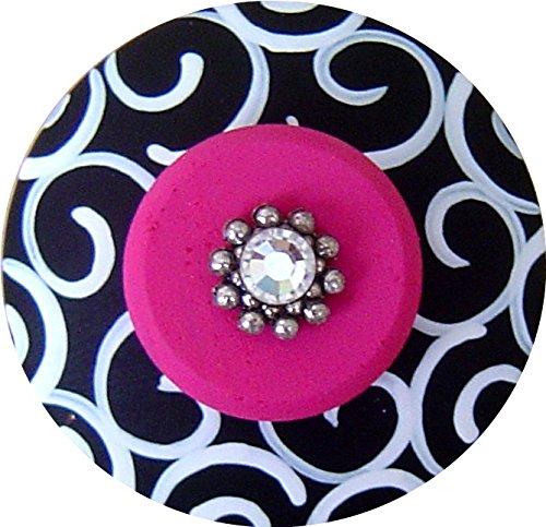 (Hand Painted Jeweled Black White & Hot Pink Swirls Decorative Wood Drawer Knob)