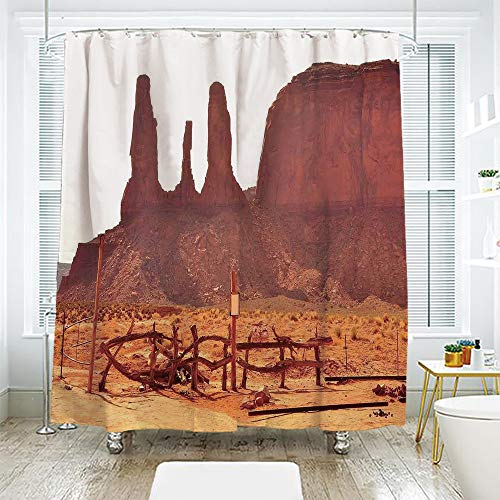 (scocici Bath Curtain Suit Bathroom Waterproof Curtain Bath Curtain,House Decor,Scenic Archaic Monument Valley on Western Desert Odd Formation of Rock and Cliff Print,Tan,70.8