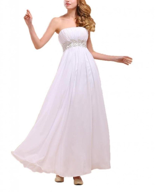 Dearta Women's Empire Strapless Sleeveless Ankle-Length Prom Dresses