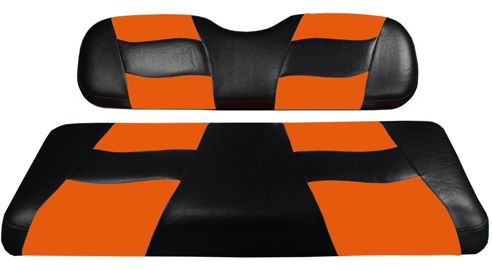 Madjax RIPTIDE 1994-Up Black/Orange Two-Tone Front Seat Cover for EZGO TXT and RXV Golf Carts by Madjax