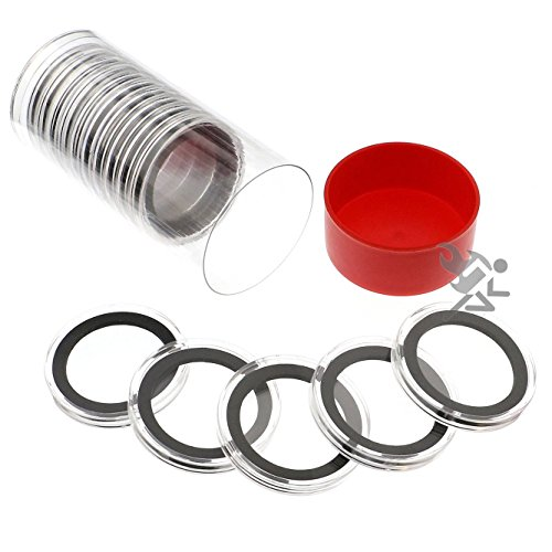 (Red Capsule Tube & 15 Air-Tite X38mm Black Ring Coin Holders for 1.5oz Silver Polar Bear)