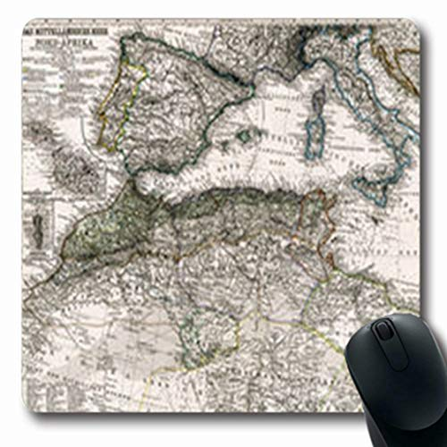 ArtsDecor Mousepads Art Antique Stieler Map Western Mediterranean Marocco Vintage Italy Old Europe France Spain Oblong Shape 7.9 x 9.5 Inches Oblong Gaming Mouse Pad Non-Slip Rubber Computer Notebook
