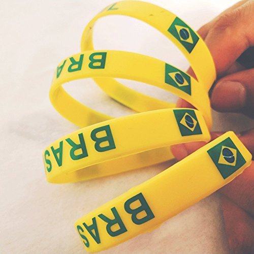 Fking 2018 Russia World Cup Souvenir Elastic Wristband National Flag Logo World Cup Great Gift for Soccer Fans (Brazil)