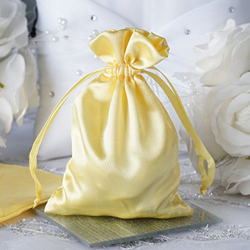 BalsaCircle 60 pcs 4x5-Inch Gold Satin Drawstring Bags - Wedding Party Favors Jewelry Pouch Candy Bags - Satin Gold Sb