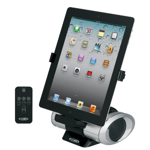 Jensen JiPS-270i Universal iPad/iPod/iPhone Docking Speaker Station with Custom App, Aux Line-In and Remote
