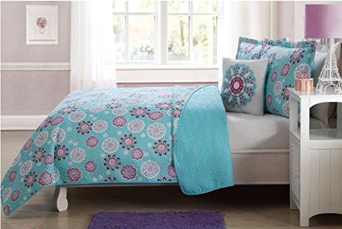 (Fancy Linen 3 Pc Twin Size Bedspread Coverlet Reversible Flakes Floral Turquoise Pink White New # Flakes)