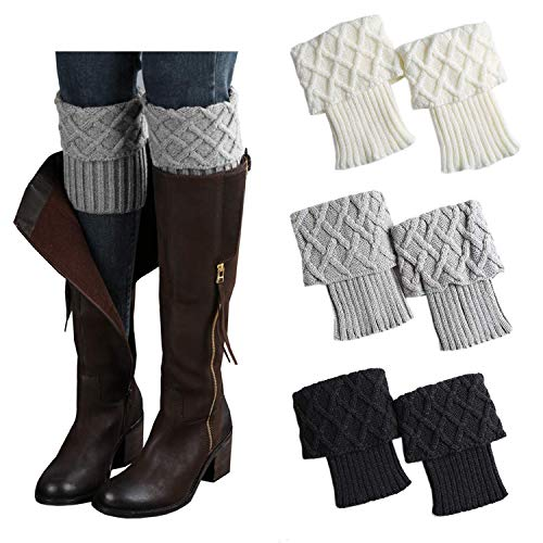 Kaariss Womens Short Boots Socks Crochet Knitted Boot Cuffs Leg Warmers Socks (Style ()