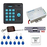 MOUNTAINONE Door Access Control System Controller ABS Case RFID Reader Keypad Remote Control 10 ID cards Electric Strike Lock