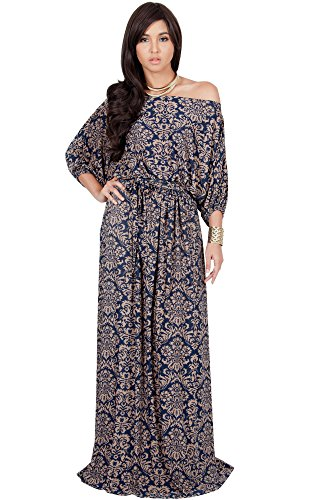 KOH KOH Womens Long Sexy One Shoulder Flowy Print Casual Short Sleeve Maxi Dress