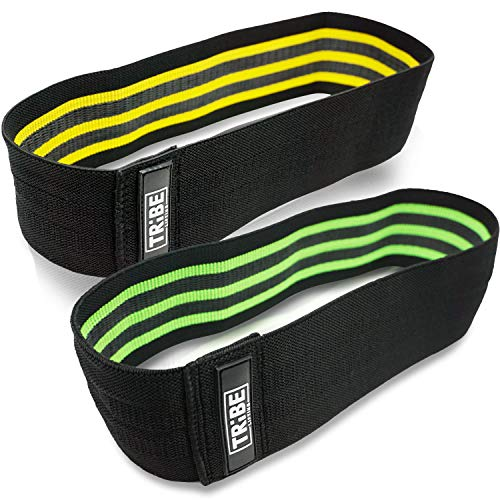Tribe Lifting Resistance Hip Bands | Leg Band for Hip Work Out or Physical Therapy | Resistance Loops, Non-Slip Elastic Grippy Inner Layer | Men and Women | Black