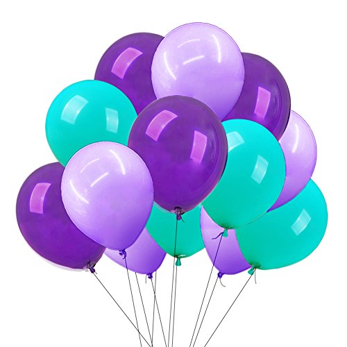 Mermaid Party Balloons Aqua Blue Light Purple Dark Purple Balloons 12