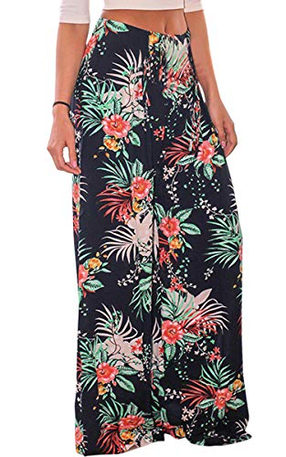 ECOWISH Women's Casual Floral Print Belted Summer Beach High Waist Wide Leg Pants with Pockets Navy Blue Medium