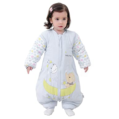 Comtervi Baby Sleeping Bag with Legs Warm Lined Winter Long Sleeved Winter Sleeping Bag with Feet