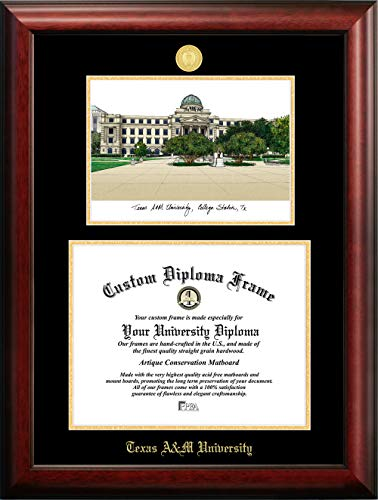 Campus Images TX953LGED Texas A&M University Embossed Diploma Frame with Lithograph Print, Gold, 12.5