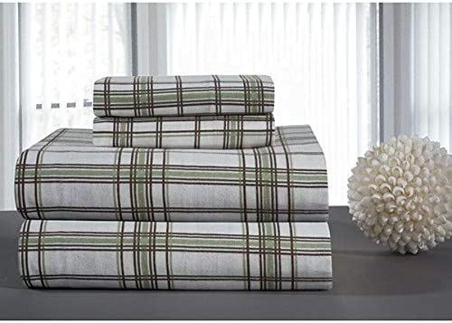 Amazon Com 3 Piece Flannel Sheet Set Classic Plaid Pattern Sage Green Sheet Twin Xl Extra Deep Pocket Fully Elasticized Fitted Sheet Comfy Bedding All Season 100 Cotton 160 Gsm Luxury Bed Sheets