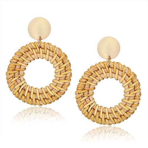 Rattan Hoop Earrings for Women, Bohemian Lightweight Straw Hollow Circle Drop Earrings Wicker Stud Earrings for Girls