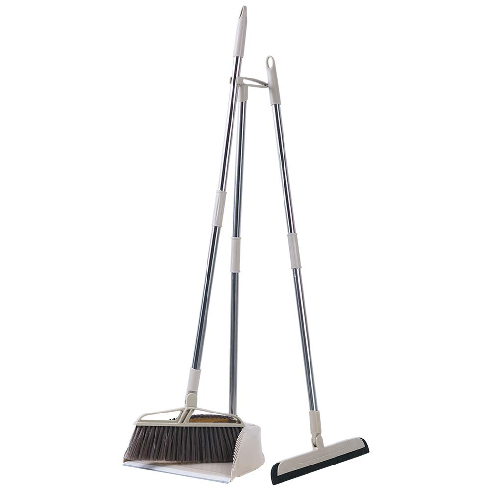 Liitrton Professional Broom and Dustpan Set Upright Push Brooms for Home Office Industry Lobby Floor Sweeping
