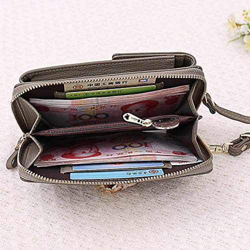 Kukoo Small Crossbody Bag Cell Phone Purse Wallet with Credit Card Slots for Women (F-Wine red) by Kukoo (Image #4)