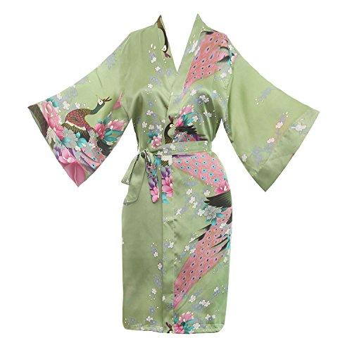- missfashion Women's Kimono Robe Peacock & Blossoms Satin Nightwear (M,Green)