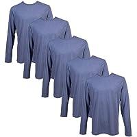 Pack 5 Camisetas Algodón Manga Larga con Tejido 150g para Hombre