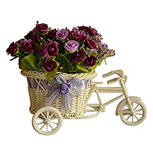 MARJON FlowersArtificial Flowers Bedroom Garden Ornaments Fake Floral Plant Bicycle Stand Home Decor Rose Purple 54