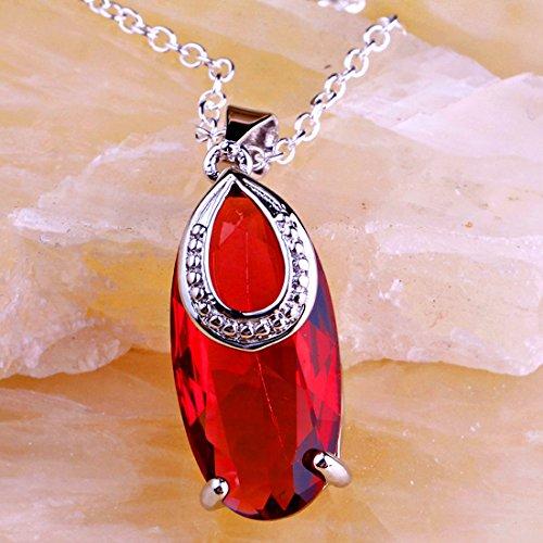 en Topaz Ruby Spinel Gemstone Silver Pendant Necklace Estate Ruby Spinel ()