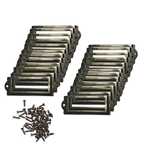 Adiyer [24 Pack] Antique Bronze Office Library File Drawer Cabinet Card Tag Label Holder Metal Frame 83mm x 30mm