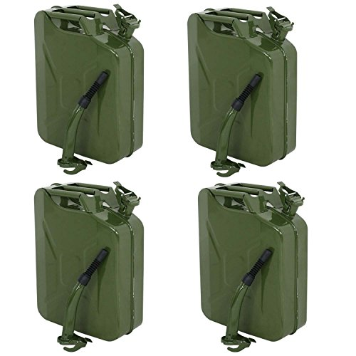 (Clever Market Gas Fuel Tank Jerry Can Automotive Steel Green Emergency Tank Backup NATO Style Army Gasoline Jerry Cans Lot Military Tank 5 Galon 20L Set of 4)