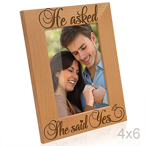 Kate Posh - He Asked, She Said Yes Engraved Natural Wood Picture Frame - Engagement Gifts, Future Mr. & Mrs. Gifts (4x6-Vertical)