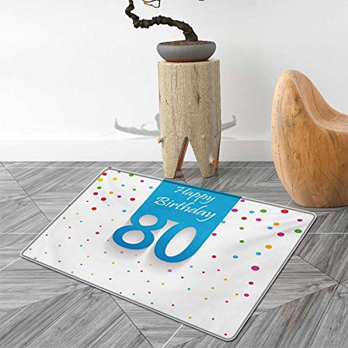 80th Birthday Bath Mat Non Slip Abstract Sky Blue Eighty Image on The Colorful Polka Dots Artistic Print Customize Door mats for Home Mat 40