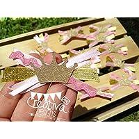 Corsage De Baby Shower para invitadas, 24 pzs, Tema Princesa color Dorado y Rosa.